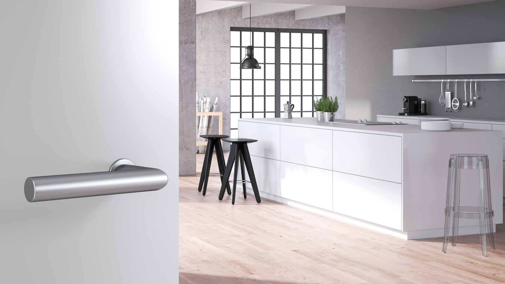 mini, minimalism, lever handle, satin stainless steel
