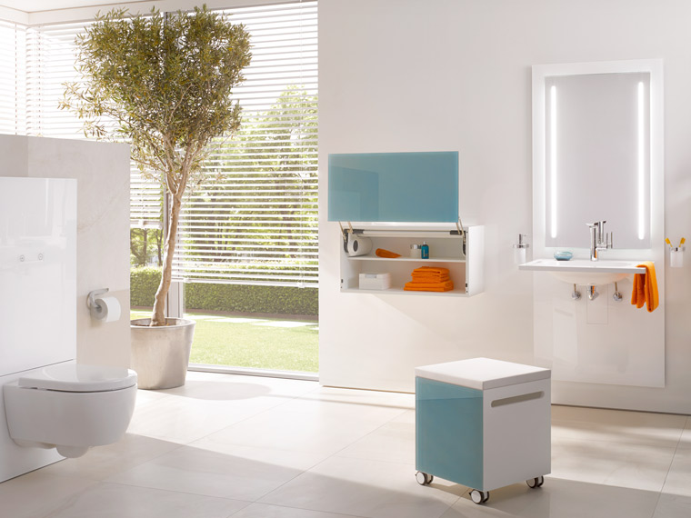 Accessible, individually height-adjustable washbasin and WC modules offer comfort and convenience in the bathroom at the press of a button