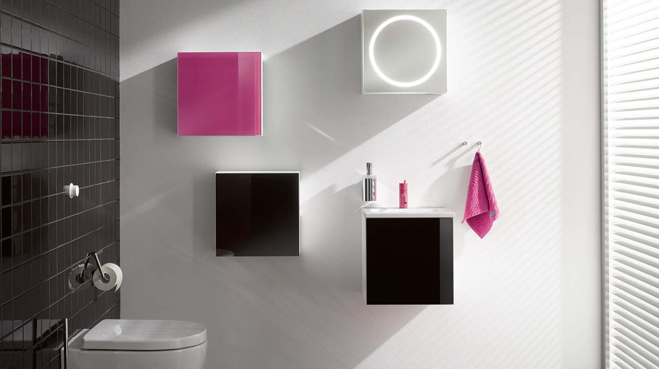 Furniture M 40 includes design bathroom furniture with washbasin, high-gloss cabinets and base cabinets. M 40 is also suitable for the accessible bathroom.