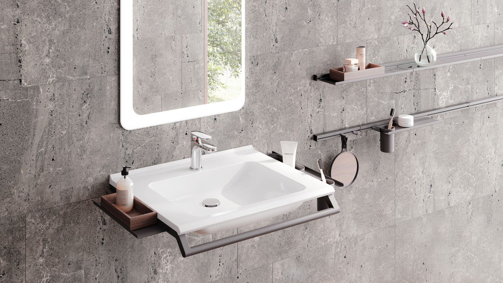 Washbasins and handbasins made of mineral composite are an alternative to ceramic or porcelain. Accessibly designed they fit in every bathroom and offer excellent, easy-care design.
