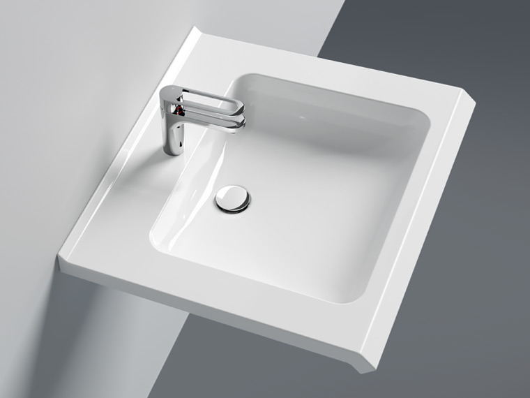 Washbasin with concealed gripping edge