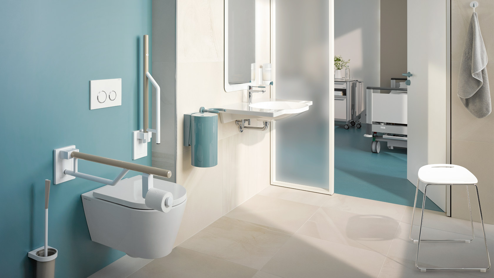Hewi system solutions for bathrooms and sanitary rooms for Badezimmer design accessoires